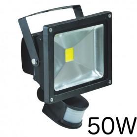 Projecteur LED 50W détecteur, lumière blanche