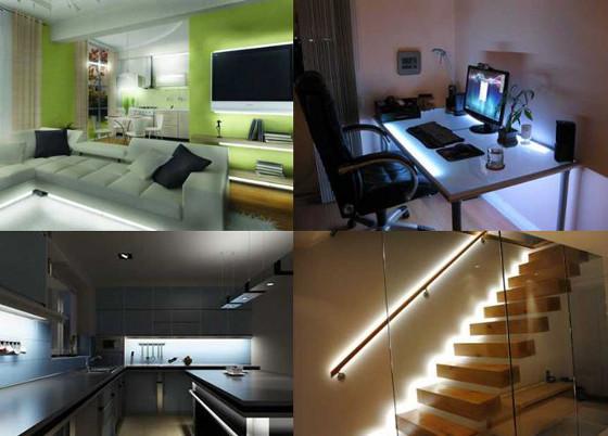 exemples de décoration ruban LED monocouleur