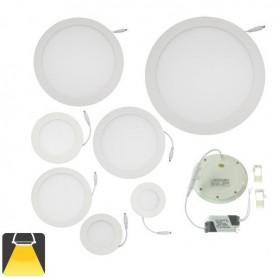 Panneau LED diamètre 200mm, puissance 15W, rond encastrable - Blanc chaud
