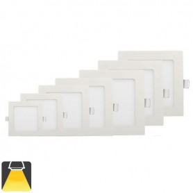 Panneau LED 195x195, 15W, carré encastrable - Blanc chaud 3000K