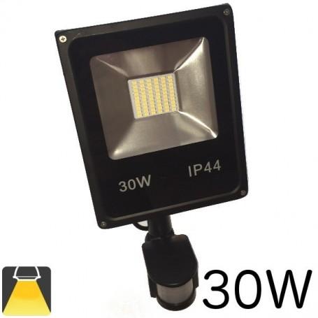 Projecteur LED plat 30W lumière blanc chaud ou blanc froid, avec détecteur de mouvements