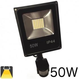 Projecteur LED plat 50W lumière blanc chaud ou blanc froid, avec détecteur de mouvements