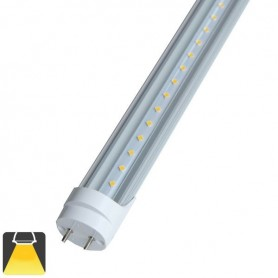 Tube LED T8 10W 60cm convercle transparent - Blanc chaud 3000K