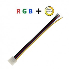 Connecteur ruban nu RGB+blanc variable vers 6 fils