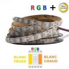Ruban LED 24V 5050 RGB + blanc variable 10M