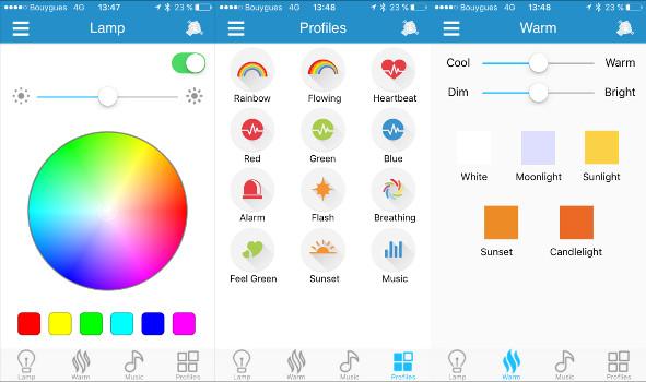 application smartphone pour ampoule led rgb bluetooth