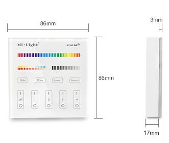 dimensions commande RGB et MONO murale multi zones